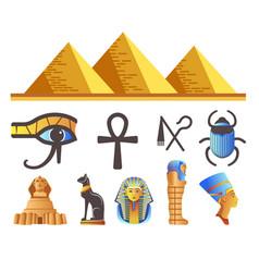 Egyptian pyramids and pharaohs egypt symbols vector
