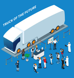Electric truck presentation isometric composition vector