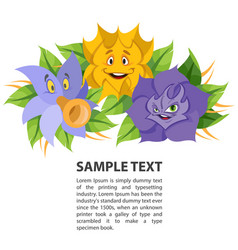 Fabled flowers smiling and talking template with vector