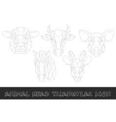 Farm animal head triangular icon set vector