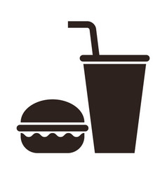 Fast food burger and drink icon vector