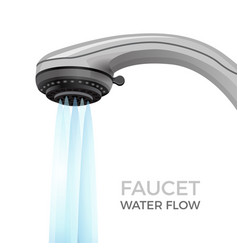 faucet water flow promo banner with shower nozzle vector image
