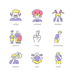 Feeling rgb color icons set vector
