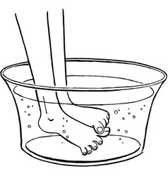 Feet in a wash basin scratching each other vector
