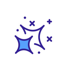 Flickering curved four pointed star icon vector