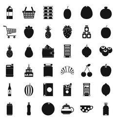 food and drink icons set simple style vector image