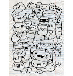 Funny cartoon faces clip art vector