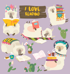 funny cartoon llamas alpaca reading books vector image