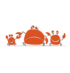 funny friends crabs sketch for your design vector image