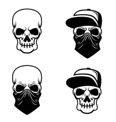 gangster skull with baseball cap and bandana vector image