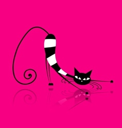 Graceful striped cat for your design vector