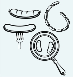 Grilled sausage on fork and on frying pan vector