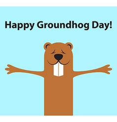 Groundhog day funny cartoon character of marmot vector