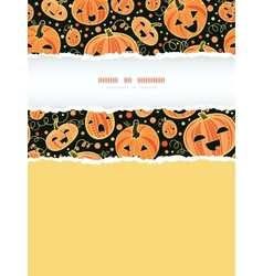 Halloween pumpkins vertical torn frame decor vector image