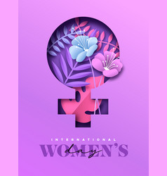 happy womens day pink paper cut flower card vector image