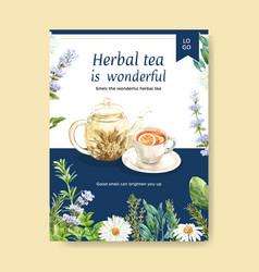 Herbal tea poster design with aster anise lemon vector