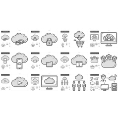 Hi-Tech line icon set vector