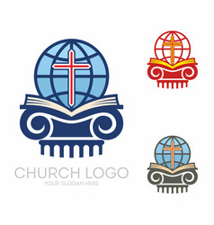 Holy bible globe and cross vector