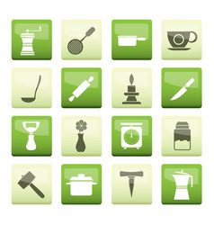 kitchen and household tools icons over green backg vector image