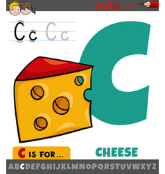 Letter c from alphabet with cartoon cheese food vector