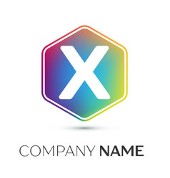 Letter x logo symbol in the colorful hexagonal on vector