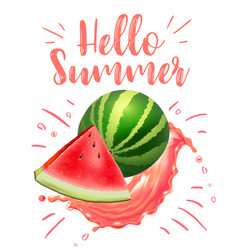 lettering hello summer watermelon print vector image