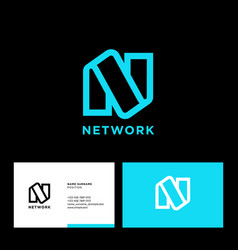linear n monogram network logo business card vector image