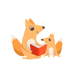 loving mother fox reading a book to her kid vector image