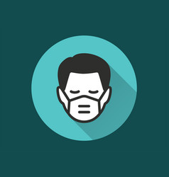 man in medical face mask icon for graphic and web vector image