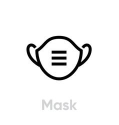 Mask icon editable line vector