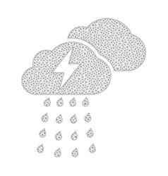 mesh thunderstorm clouds icon vector image