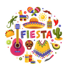mexican holiday set traditional poster for fiesta vector image