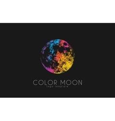 Moon logo design color cosmic logo space vector