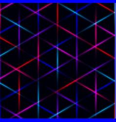 Neon triangle vivid laser grid on dark background vector