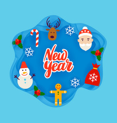 New year papercut concept vector