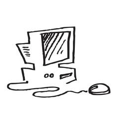 Old desktop computer mouse monitor vector