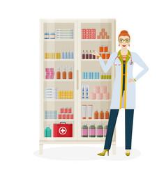 Pharmacy background female pharmacist and shelves vector