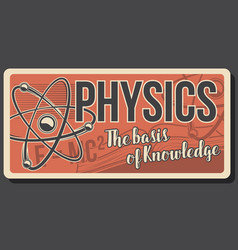Physics poster with atom and molecules vector