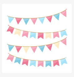 Pink and blue bunting vector