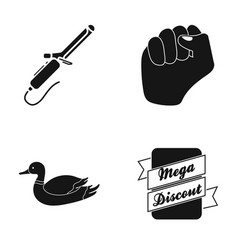 Plait fist and other web icon in black style vector