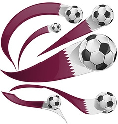 Qatar flag set with soccer ball vector