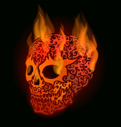 red flaming skull vector image