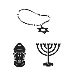 religion and belief black icons in set collection vector image