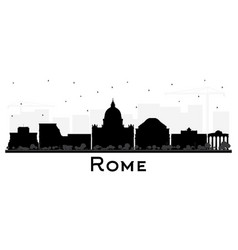 Rome italy city skyline silhouette with black vector