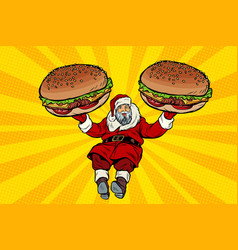 Santa claus with two burgers fast food delivery vector