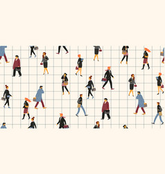 Seamless pattern with people going to work vector