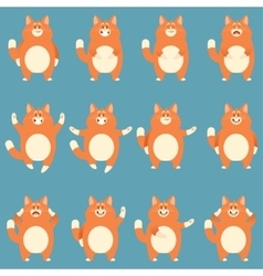 set flat red cat icons vector image