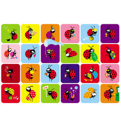 set funny bugs beetles in different scenes vector image