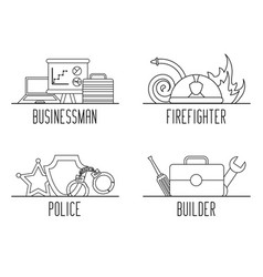 set of differents profession work equipment vector image