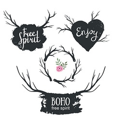 Set rustic logo elements Hand drawn vintage design vector image